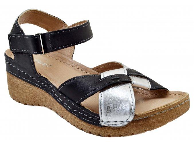 92 černo stříbrná letní sandálky korková vyšší podrážka páskové moderní