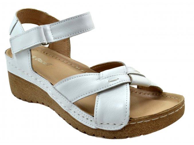92 bílé kožené sandále páskové zdravotní měkká stélka jednoduché moderní vycházkové sportovně elegantní