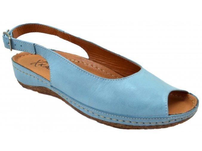 124I1 modré 1822BL kožené sandálky pásek na patě špice na svatbu romantické lehké měkké