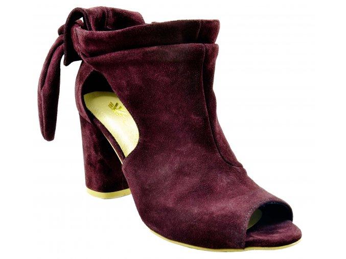 584 VelBord bordó červené kožené sandálky na podpatku lodičky s mašlí ozdoba krásné svůdné sexy