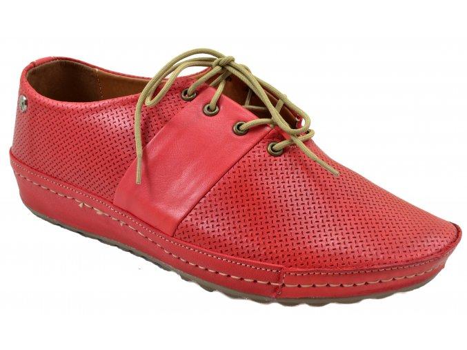 76W48 CZERWIEN červené tenisky kožené široké pohodlné vycházkové levné šňůrky zavazování měkké sportovní
