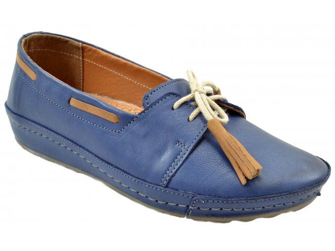 148 modré BLUEBX dámské kožené mokasíny šířka G moderní módní mladistvé pohodlné vycházkové