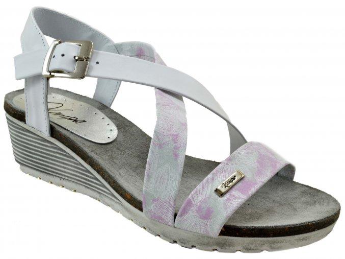 K54s2 bílé květované růžové BIALY ROSABIANCO sandálky na klínku páskové romantické sexy letní