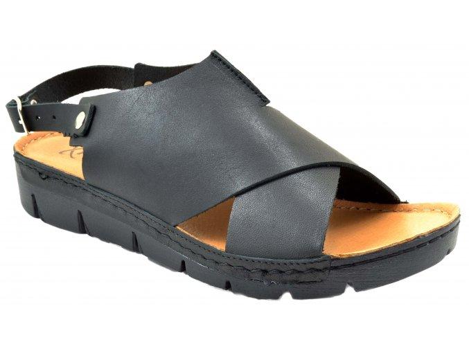 K116 CzarnyMAT černé sandály na vyšší podešvi měkké levné elegantní sportovní volná špice