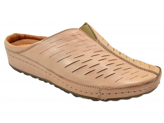 K124L8 9005BL kožené nazouváky béžové starorůžové jemný vzor plná špice letní levné pěkné
