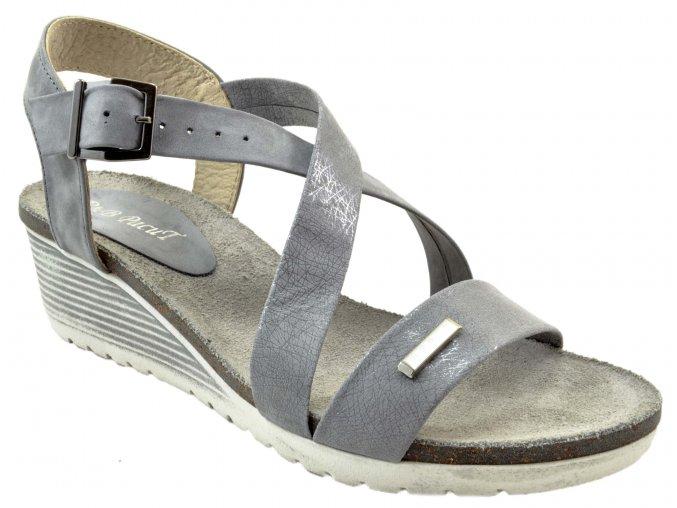 93 šedé popiel+paj nubuk letní páskové sandálky vycházkové pohodlné moderní lehké na klínku