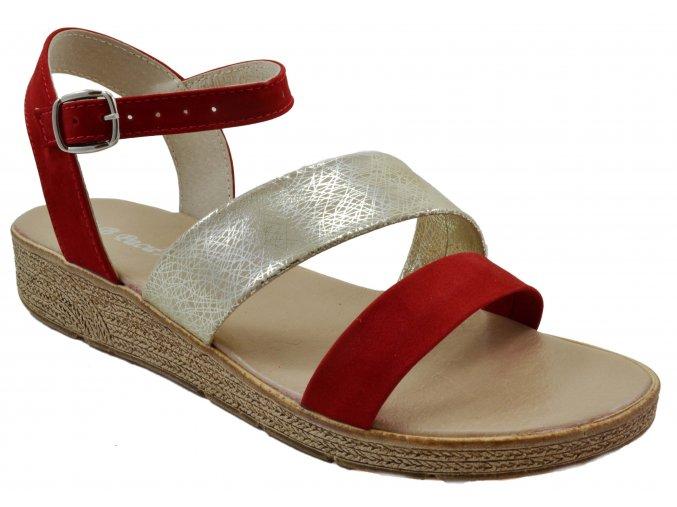 81 červené czerwony zloty+pajak sandále páskové pohodlné lehké měkké módní moderní vycházkové