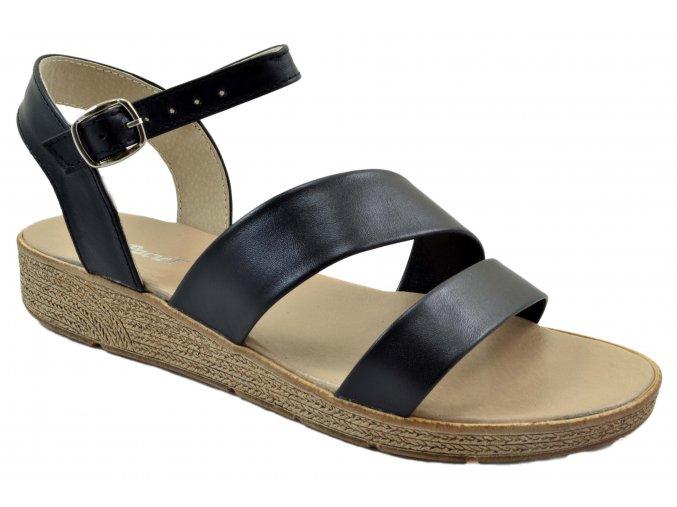 81 čérné czarny sandále páskové pohodlné lehké měkké módní moderní vycházkové