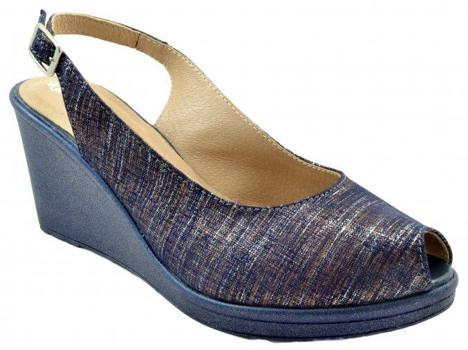 135 modré granat sierra letní sandálky na klínku pásek přes patu otevřená špice