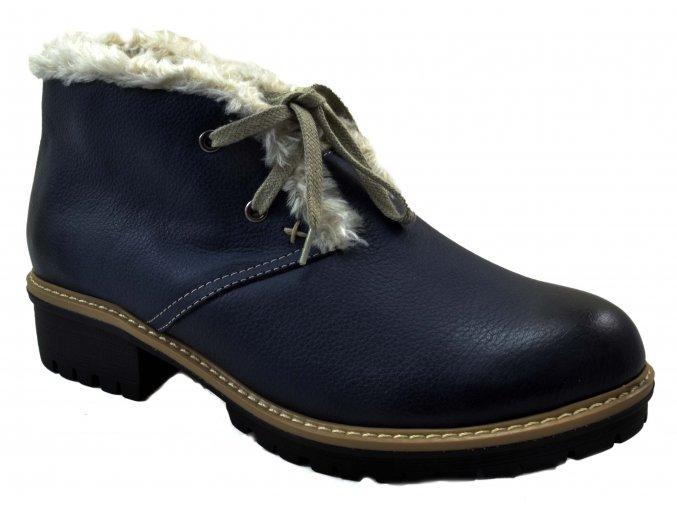 545 modrá rustic24 dámské kožené podzimní zimní nízké polobotky na zavazování zateplené ovečkou teplé lehké levné