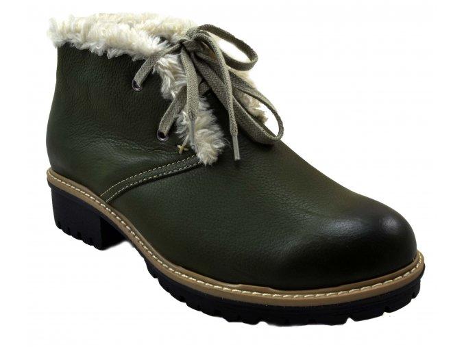 545 zelená khaki rustic25 dámské kožené podzimní zimní nízké polobotky na zavazování zateplené ovečkou teplé lehké levné