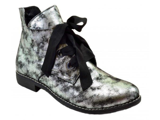 540 2 černá zeus czarny dámské kožené podzimní kotníkové polobotky zateplené fleecem zavazování