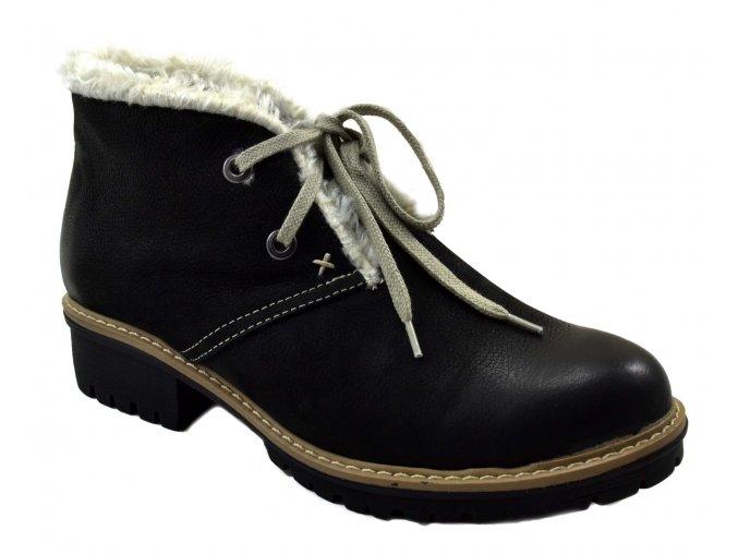 545 černá czarnyrustic dámské kožené podzimní zimní nízké polobotky na zavazování zateplené ovečkou teplé lehké levné