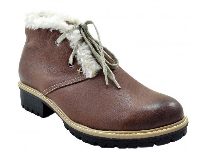 545 hnědá rustic22 dámské kožené podzimní zimní nízké polobotky na zavazování zateplené ovečkou teplé lehké levné