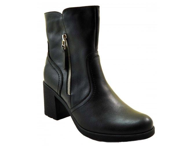 677 černé czarny kožené dámské vyšší polokozačky na podpatku zip lehké levné zateplené flees