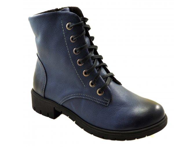 678 modrá rustic24 podzimní vysoké boty se zipem zavazování