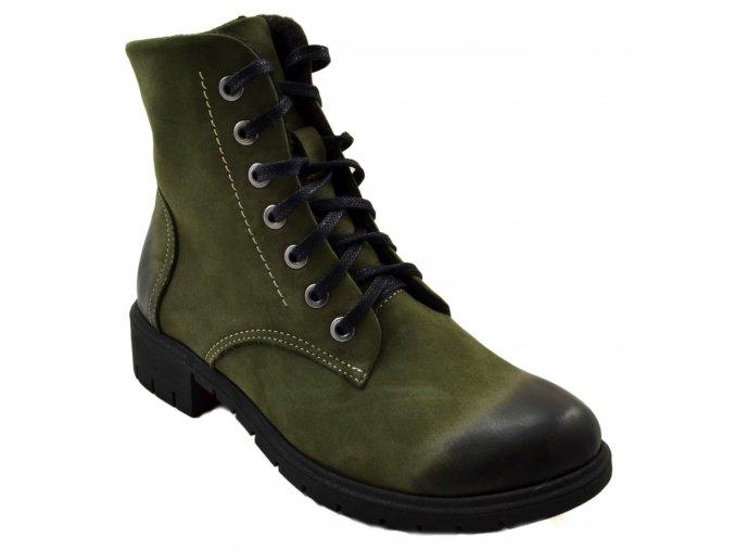 678 zelená oliwkanubuk podzimní vysoké boty se zipem zavazování