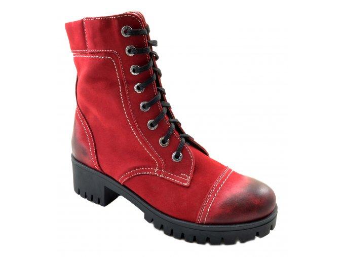 6881 červená bordó podzimní vysoké boty se zipem zavazování