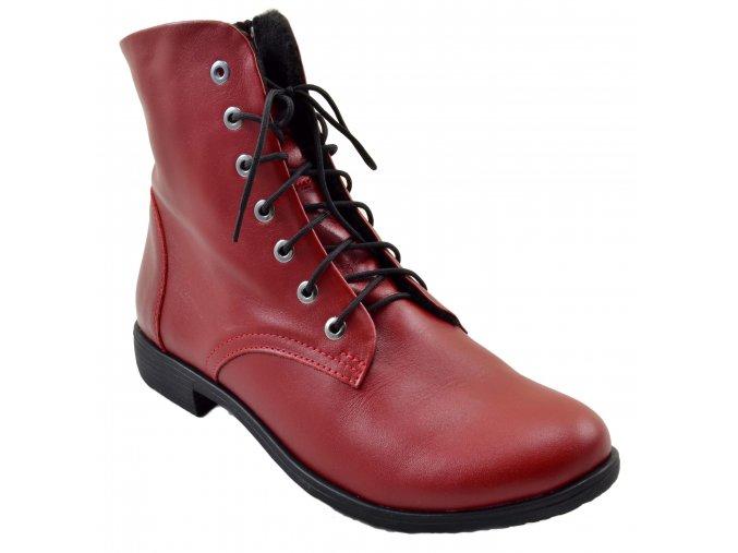 519 cervena bordo podzimni vysoke boty se zipem zavazovani tezary