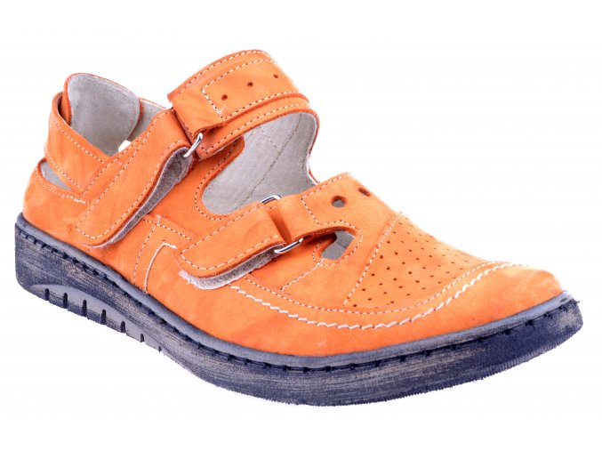 4625 2 oranzova fantazja pomarancz damske kozene sandale plne levne plna spice suchy zip