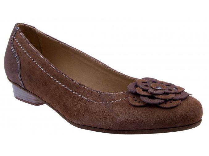nadměrné velikosti hnědé kožené baleríny s ozdobou levné 42 43 45 44 dámské velká noha