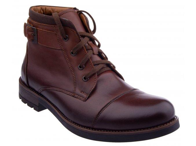 247 brown hneda hilby panske zimni boty polobotky na zavazovani zip na boku krasne kozene levne kuze elegantni k obleku