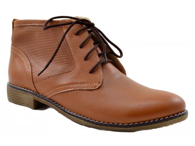 620 Dámské kožené hnědé kotníčkové boty