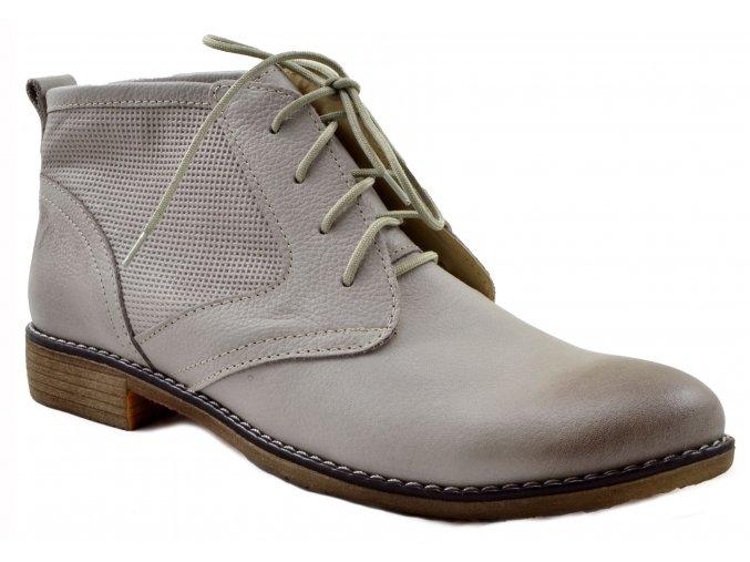 620 Dámské kožené šedé kotníčkové boty