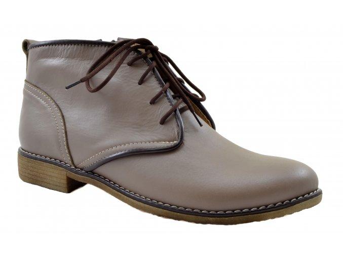 533 Dámské kožené šedé kotníčkové boty 1