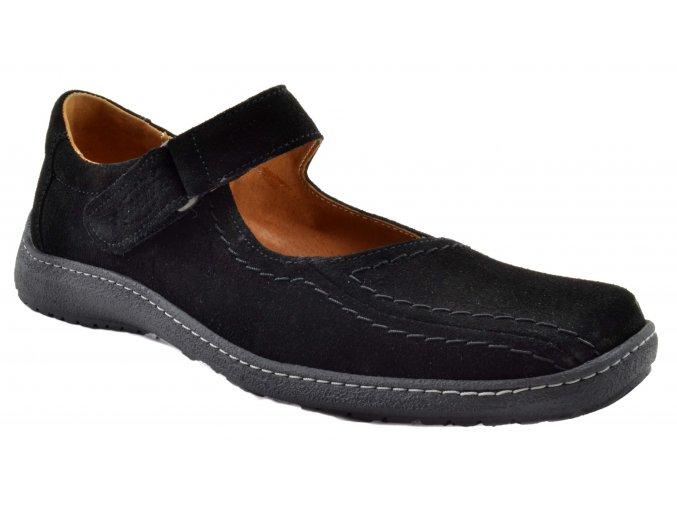 PS184 dámské kožené polobotky černé nadměrná velikost