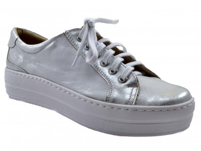 B54 dámské kožené tenisky stříbrné