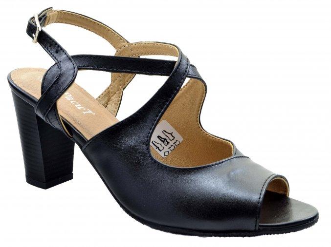 110.3 dámské kožené lodičky na podpatku černé hladké s pásky přes nárt