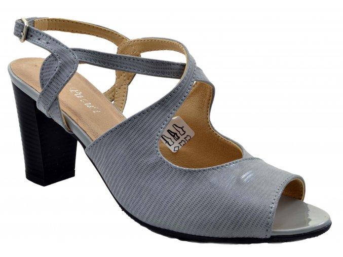 110.3 dámské kožené lodičky na podpatku šedé s pásky přes nárt