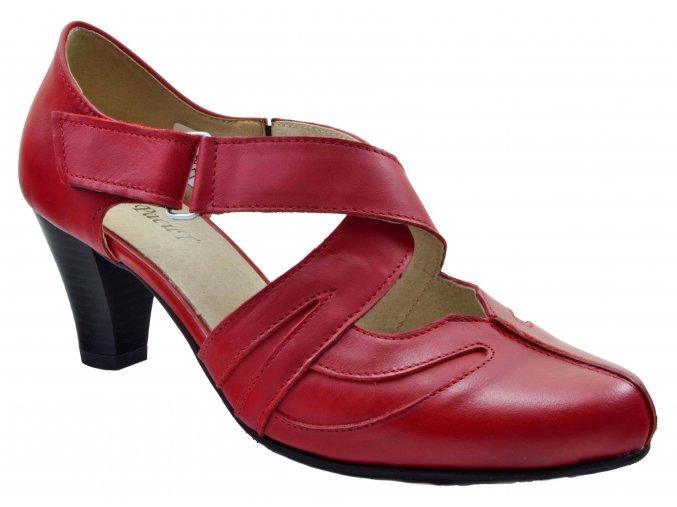 91 dámské kožené lodičky na podpatku červené