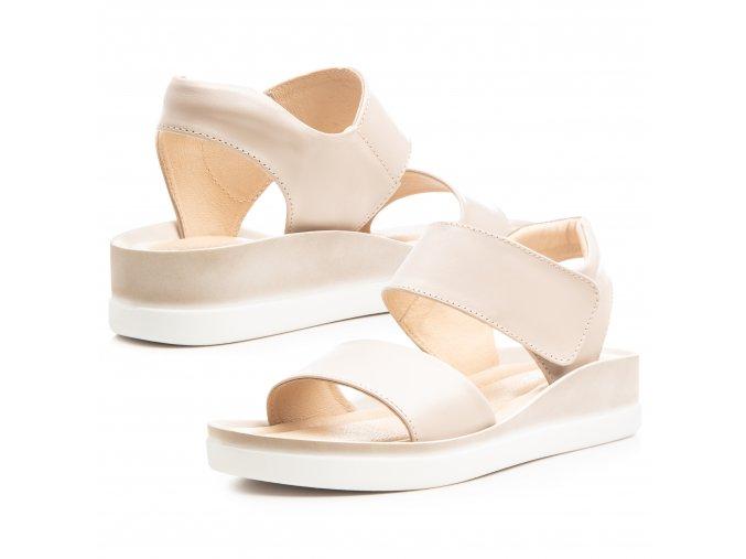 Kožené béžové letní sandály 1