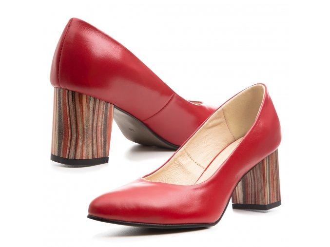 Kožené červené lodičky barevný žíhaný podpatek 1
