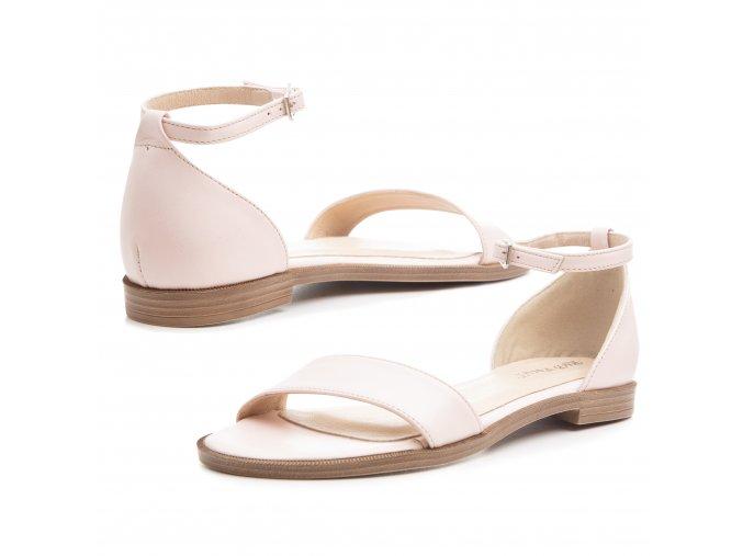 Kožené dámské sandály nízka platforma běžová barva 1