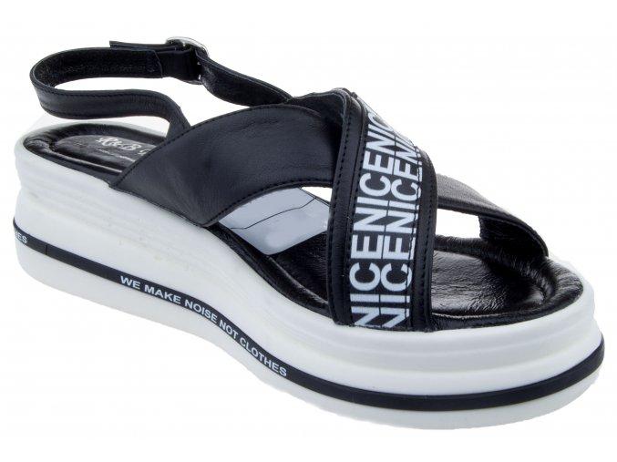 S205 czarny cerne kozene sandale letni