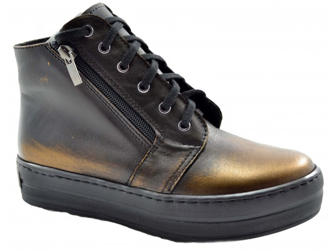 5366 cerna medena damska kozena podzimni obuv kotnikova metalicka hneda moderni vysoka podrazka
