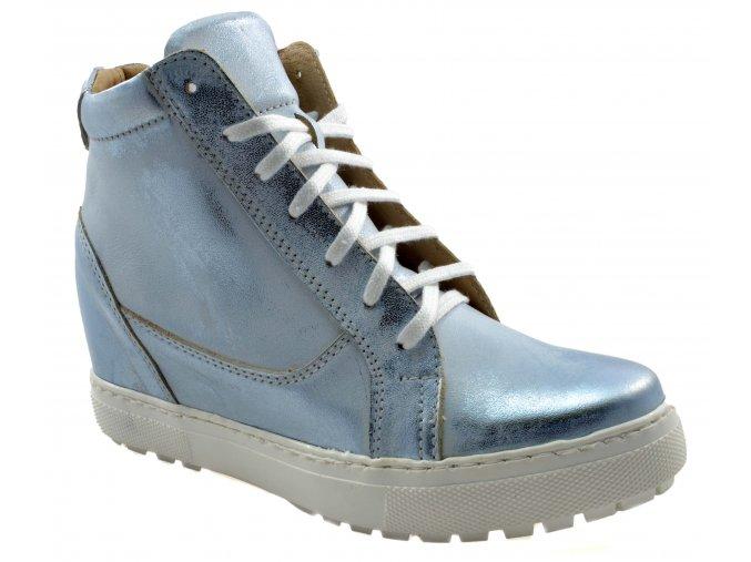 680 modre stribrne damske kozene kotnikove polobotky podzimni metalicke moderni