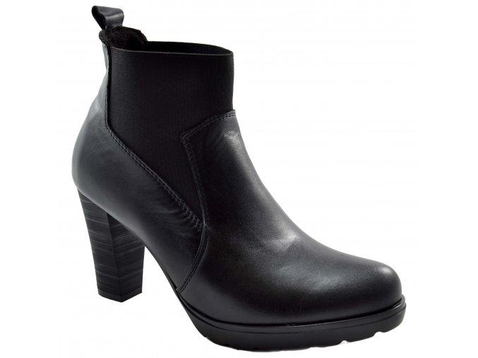 676 cerna vysoka podzimni obuv na podpatku nazouvaci s gumou kozene kozacky