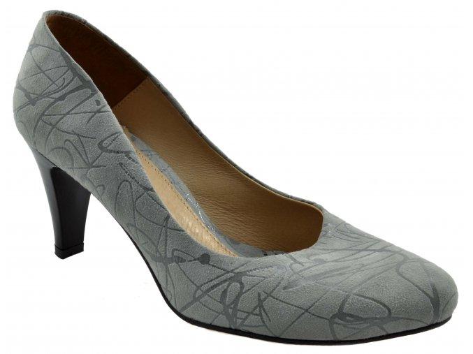 5602 Dámské kožené lodičky šedá semiš vzorek stylové moderní elegantní