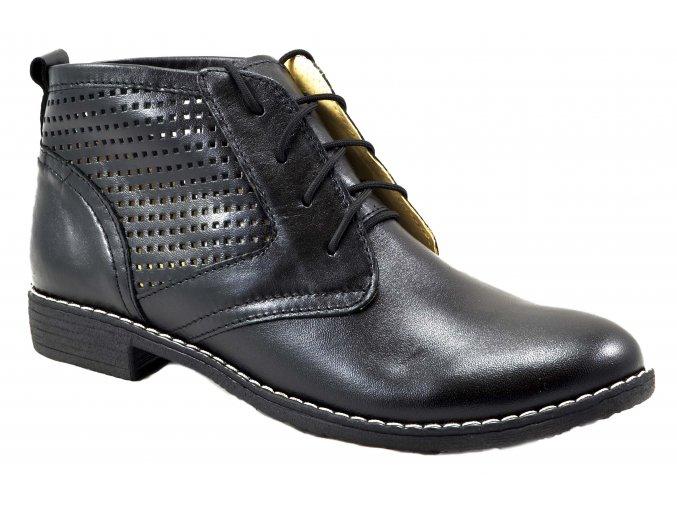 620 černá kotníková obuv na zavazování dírky perforované