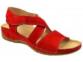 88 červená kožene sandále sportovní vycházkové pohodlné mekká podešev levné