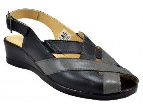 90 černá šedá sandálky s páskem přes patu jednoduché pohodlné na klínku