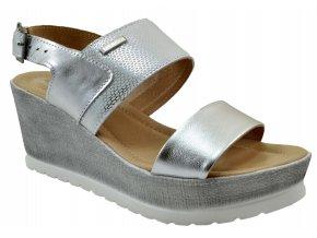 86 stříbrné letní sandále na korkové podrážce vycházkové pohodlné moderní