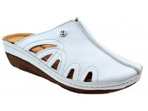K123 BialyRU bílé nazouváky na klínu zdravotní obuv plná špice letní pohodlné levné kožené měkké