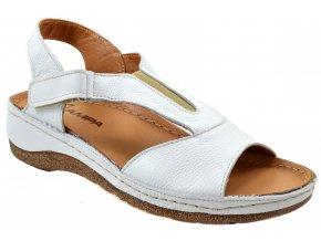 K120 BialyRU bílé kožené sandály do města vycházkové měkké pohodlné páskové