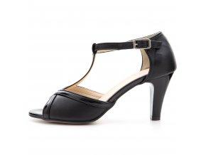 136 černé czarny+lakier kožené lodičky pásek přes nárt stabilní taneční moderní elegantní sexy