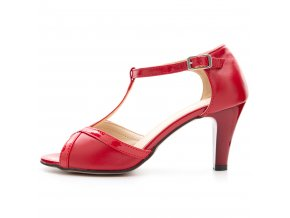 136 červené czerwien+lakier kožené lodičky pásek přes nárt stabilní taneční moderní elegantní sexy